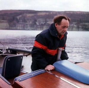 Donald Campbell aboard Bluebird JetStar ski-boat, Coniston, 1966