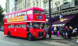 The 60s Bus outside London's Hard Rock Cafe
