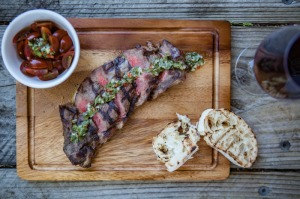 chargrilled grass fed sirloin w/ chimmichurri & tomato