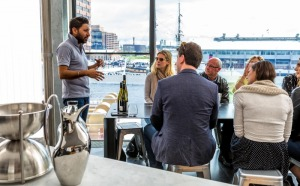 A wine presentation on Hobart's waterfront at Domaine Simha wines.