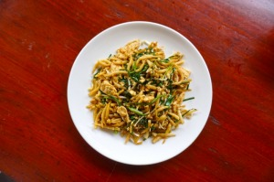 A delicious dish of friend Cambodian noodles : Lort-Cha