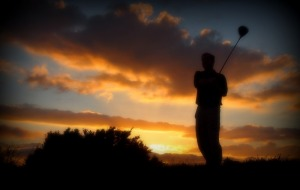 Sunset on Aberystwyth Golf Course