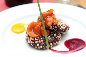 Beetroot cutlet, papaya chutney