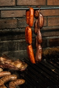 Chorizos on the grill
