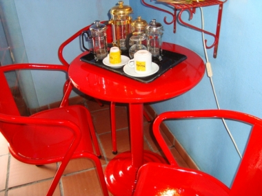 The only table inside the Café