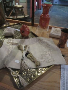 Ruskin-inspired Arts & Crafts linen and repouse metal-work, made in Coniston