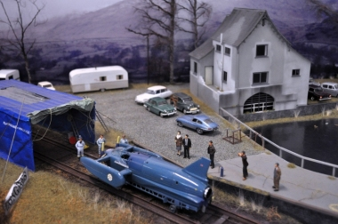 Scale model of Pier Cottage, Coniston, the base for all K7's record attempts; made by Stephen Phillips