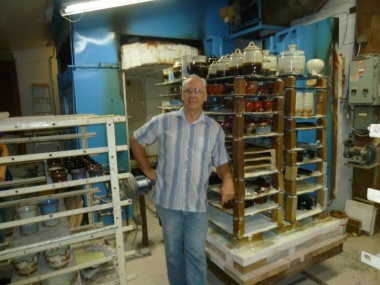 Donn beside his Kiln, Troy studio