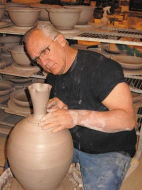 Donn Throwing in his Studio in Troy