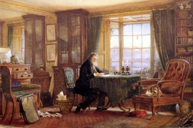 John Ruskin in his Study at Brantwood, dawn, watercolour by W.G..Collingwood