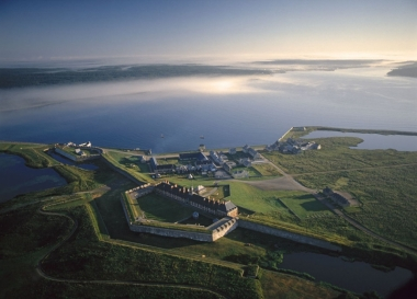 Aerial view of the Fortress of Louisbourg National Historic Site.
