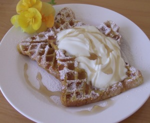 Waffles - breakfast choice at Kamahi Cottage