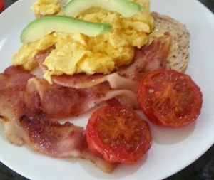 Crispy bacon, farm fresh eggs & slow-roasted tomatoes (Breakfast choice at Kamahi Cottage)