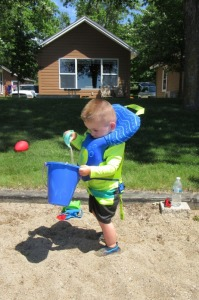 Filling the sand bucket