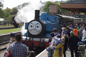 Once a year, a very special blue engine comes to visit. Photo by Sarah Anne Harvey